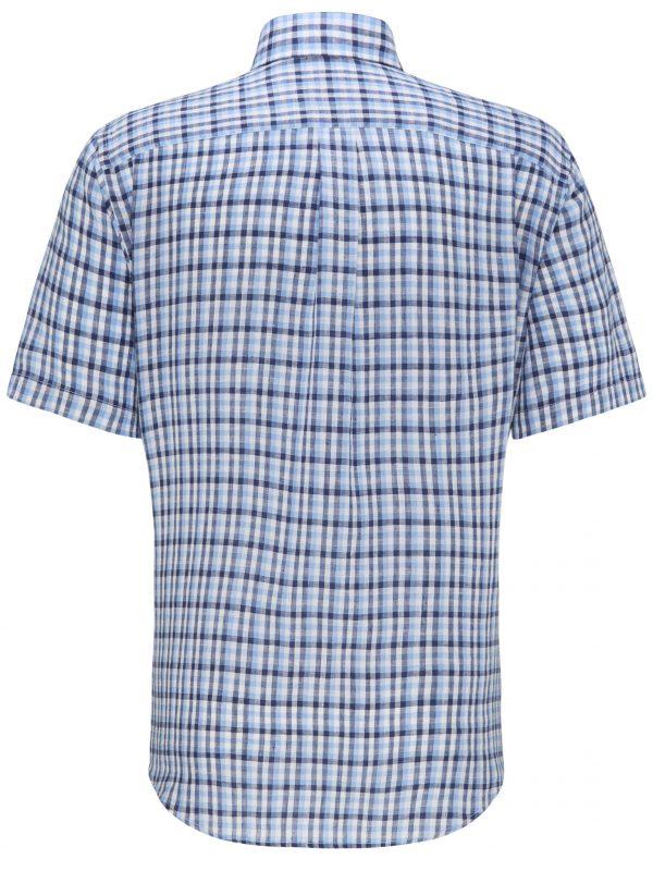 Blue Linen Check Back