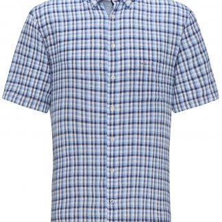 Blue Linen Check