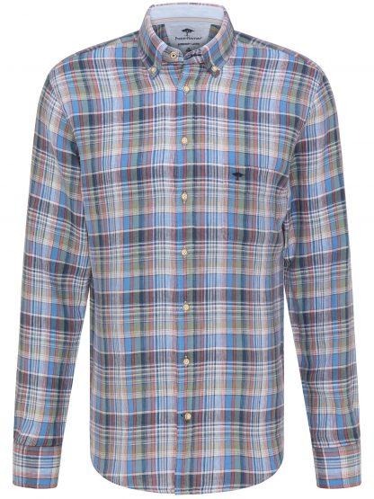 Fynch-Hatton Linen Madras Check Blue