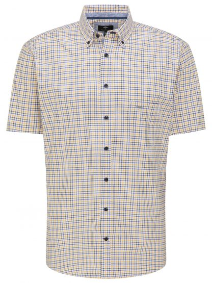 Fynch-Hatton Short Sleeve Yellow-Green Check