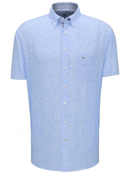 Short Sleeve Linen Blue