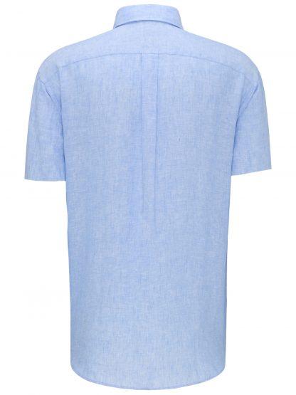Short Sleeve Linen Blue Back