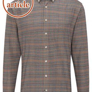 1220 6080 6082 Taupe Check Warm Shirt