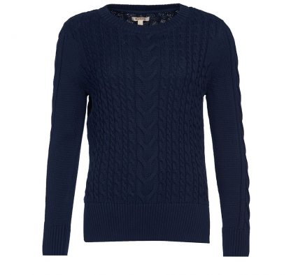 Barbour Lewes Cable Knit Navy