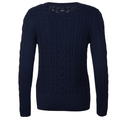 Barbour Lewes Cable Knit Back Navy