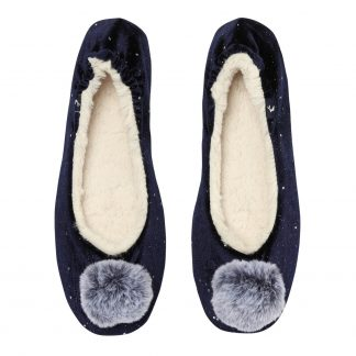 209786_NAVY Joules Pombury Ballet Slippers