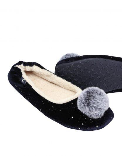 209786_NAVY Joules Pombury Ballet Slippers