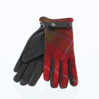 Failsworth Harris Tweed-Leather Gloves Black