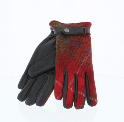 Failsworth Harris Tweed-Leather Gloves Black