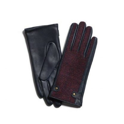 Failsworth Harris Tweed-Leather Gloves Navy