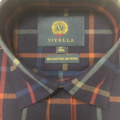 Viyella Large Tattersall Check Navy