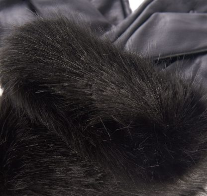 Barbour Fur Trimmed Leather Gloves Black