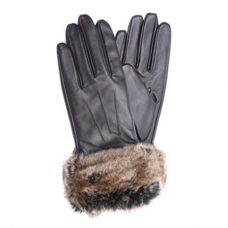 Barbour Fur Trimmed Leather Gloves Brown