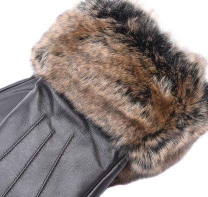 Barbour Fur Trimmed Leather Gloves Brown