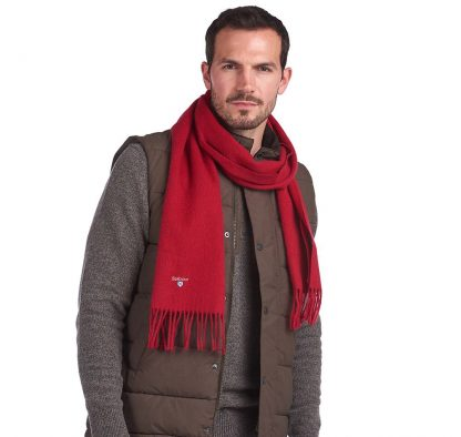 Barbour Lambswool Scarf Red