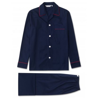 Derek Rose Cotton Pyjamas Navy