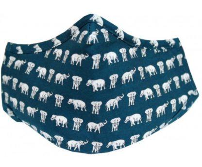 Elephants Facemask Blue