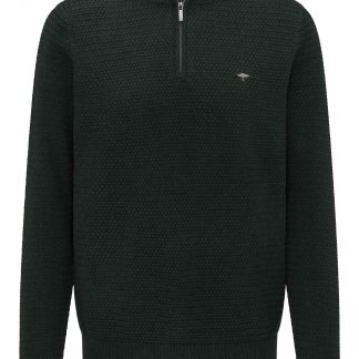 Woven Cotton 1/4 Zip Emerald