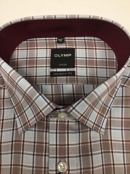 1224_44 Olymp Check Shirt Burgundy