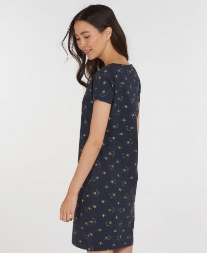 LDR0303NY76 Barbour Harewood Print Dress Navy Bee Print