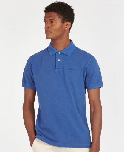 MML1127BL97 Barbour Washed Sports Polo Marine Blue