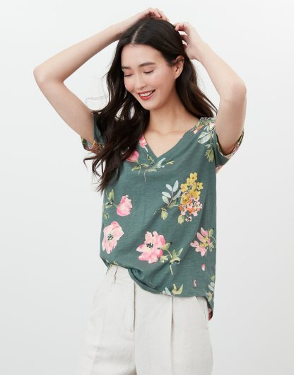 213754_GRNFLORAL Joules Celina Print T-Shirt Green