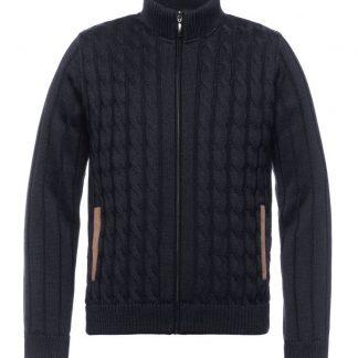 24075087M-490 Montechiaro Lined Wool Zip Cardigan