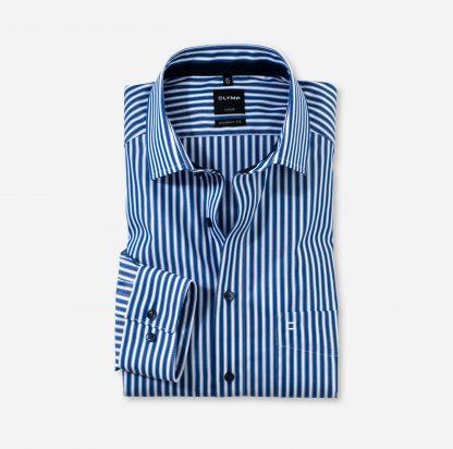 12317418 Olymp Modern Fit Stripe Blue