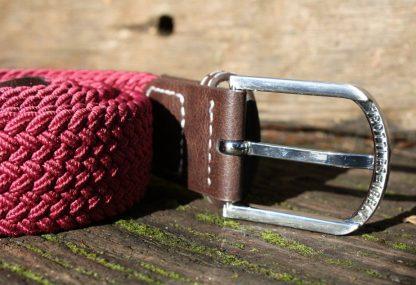 Burgundy Woven Stretch Belt
