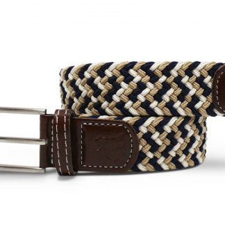 Navy-Beige Zigzag Woven Stretch Belt