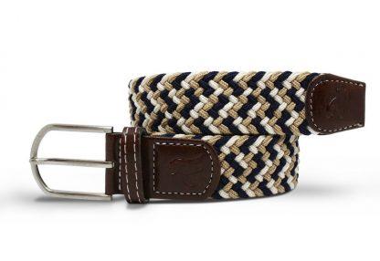 Navy-Beige Zigzag Woven Stretch Belt