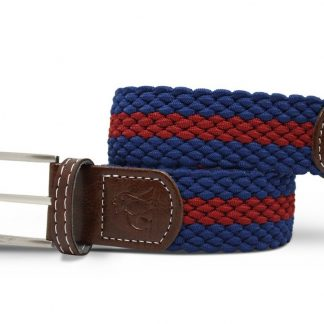Navy-Burgundy Woven Stretch Belt