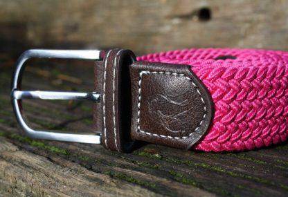 Rich Pink Woven Stretch Belt