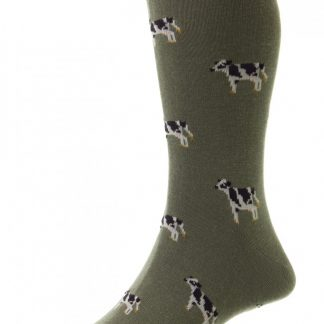 hj62 Cow Socks Olive