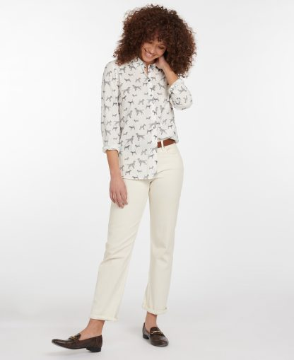 LSH1357WH72 Barbour Safari Shirt - Off White Country Print