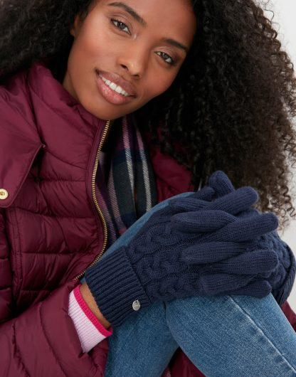 214651_FRNAVY Joules Elna Cable Gloves Navy