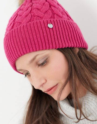 215450_RUBYPINK Joules Elena Cable Hat Pink