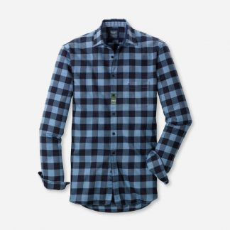 40728415 Olymp Two Ply Warm Check Shirt Blue