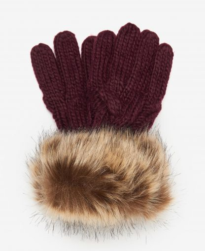 LGL0110PU91 Barbour Penshaw Knitted Gloves Bordeaux