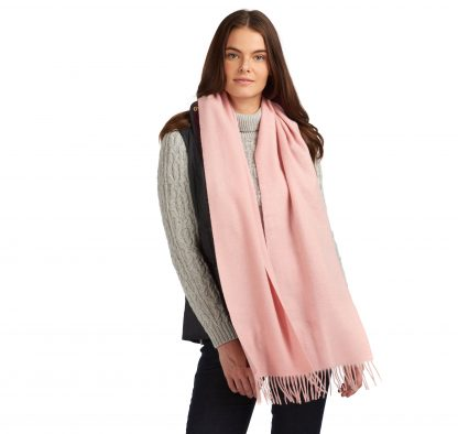 LSC0133PI14 Barbour Lambswool Woven Scarf Blush Pink