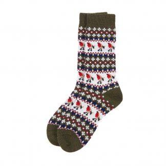 LSO0077OL11 Barbour Robin Fairisle Socks Olive