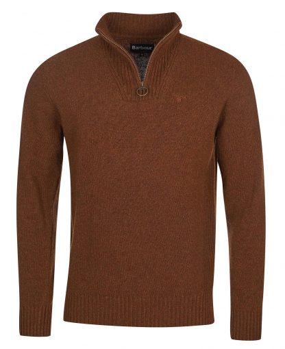 MKN0339SN31 Barbour Essential Lambswool Half Zip Sweater Sandstone