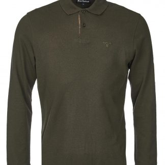 MML0705GN91 Barbour Long Sleeved Polo Shirt Forest Green
