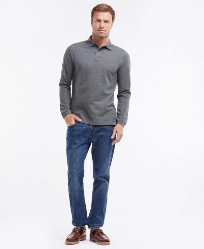 MML0705GY73 Barbour Long Sleeved Sports Polo Slate Marl