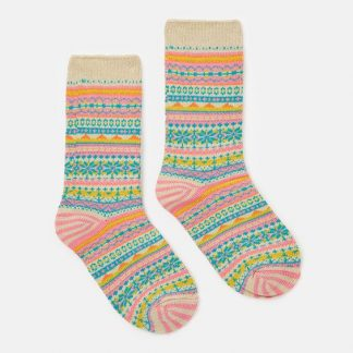 Joules Lucille Fairisle Socks Pink