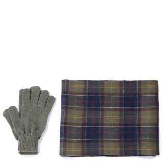 MGS0018TN11 Barbour Tartan Scarf & Glove Gift Set Classic